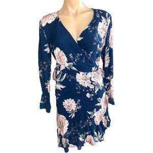 MIRACLE 10 blue white FLORAL boho long sleeve summer beach WRAP dress ♡
